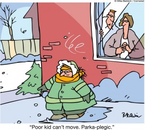 He is not layering for skiing properly.