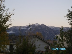 First Snow in the Sierras as seen from the valley floor.