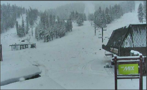 Snow in the Sierras at Heavenly too.