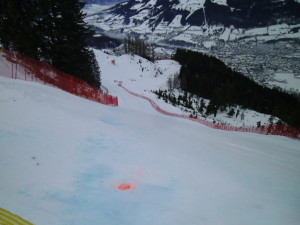 A scary run that you get to see while skiing Kitzbuhel.