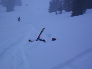Burying a tip is alway a disaster in deep powder.