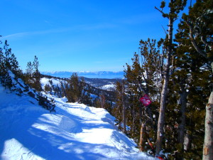 Great views from up on top while skiing Mt Rose.